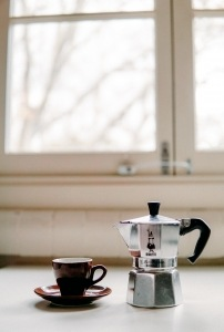 We love brewing coffee with a moka pot